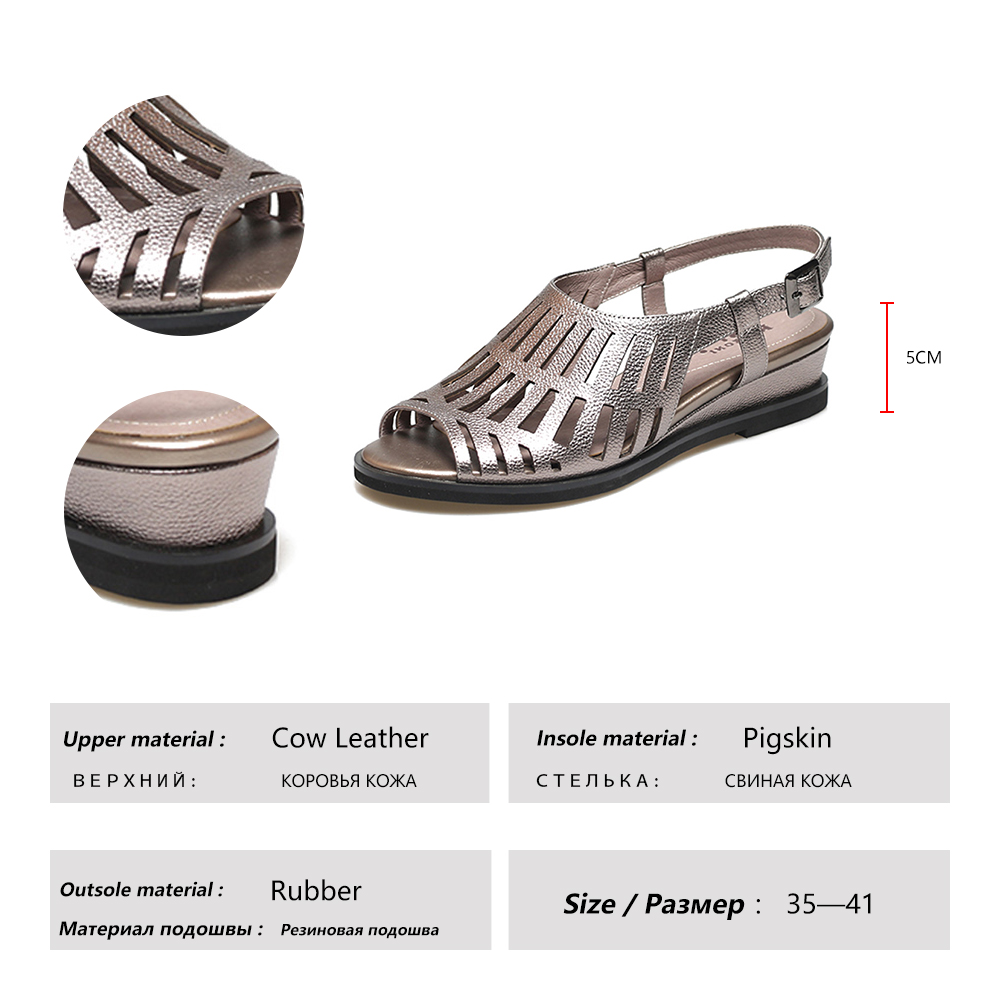 BALLEI Vintage Woman Summer Sandal High Quality Genuine Leather Back Strap Soft Wedges Shoes Solid Luxury Casual Lady Sandal S93