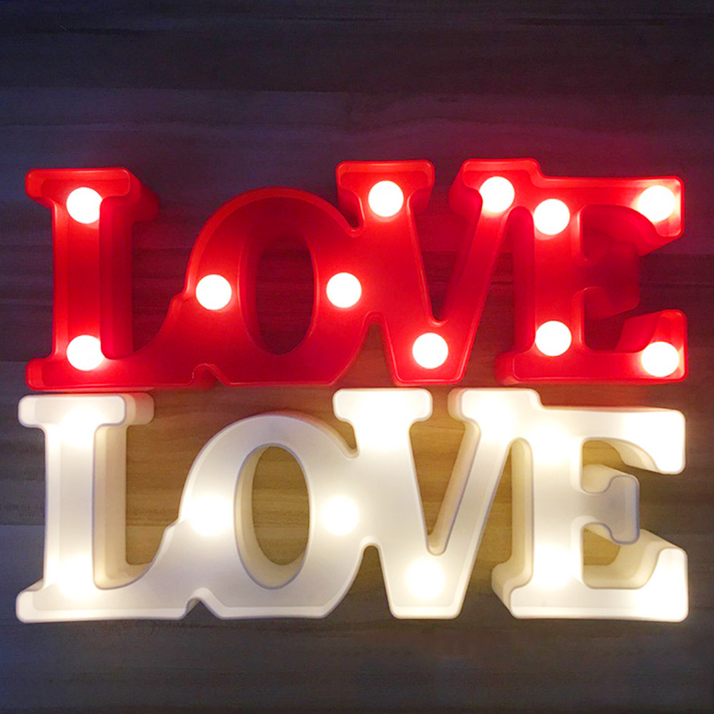 Valentines Day Gift 3D Marquee LOVE Letter LED Lights Romantic Wall Lamps Night Light Home Party Wedding Love Decoration GiftsValentines Day Gift 3D Marquee LOVE Letter LED Lights Romantic Wall Lamps Night Light Home Party Wedding Love Decoration Gifts