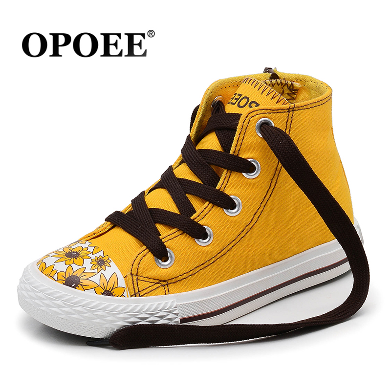 OPOEE Children canvas shoes girls shoe head prints golden yellow high-top boots shoes boys alternative fashion sneaker