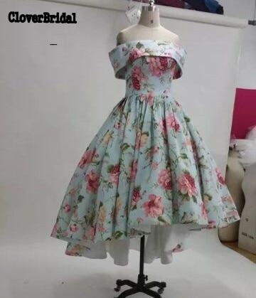Unique printed flowers off shoulder high low dresses short frony long back ruched skirt vestido colado vestido social curto