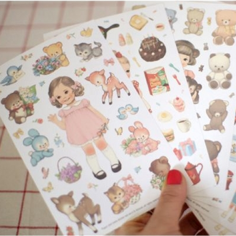 MQStyle 6Sheets/Pack New DIY Scrapbook Paper Cute Curly Doll Diary Stickers Decoration Sticker Paper H0190