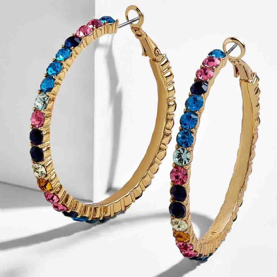 New Fashion CZ Rainbow Flower Stud Earring for Women Boho Geometric Statement Small Circle Ear Cuff Earring Bohemia Jewelry 2019