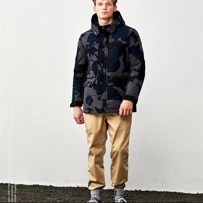 Agradecido Men's Down Jacket Fashionable Camo Design Thick Winter Coat Men Militarry Jacket Men