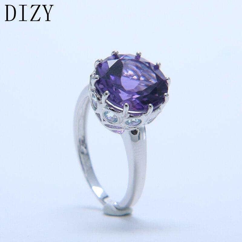 DIZY naturel violet améthyste anneau solide 925 en argent Sterling rond coupe bague de pierres précieuses pour les femmes cadeau de mariage bijoux de fiançailles - 2