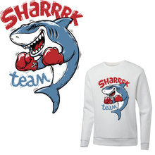 funny shark patches for clothing iron on transfer T-shirt hoodies diy clothes accessories patch parches termoadhesivos ropa