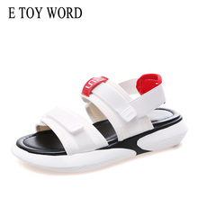 Купить с кэшбэком E TOY WORD Women Summer Sandals 2019 New flat shoes Hook & Loop platform sandals woman Casual Beach Sandals for Ladies shoes