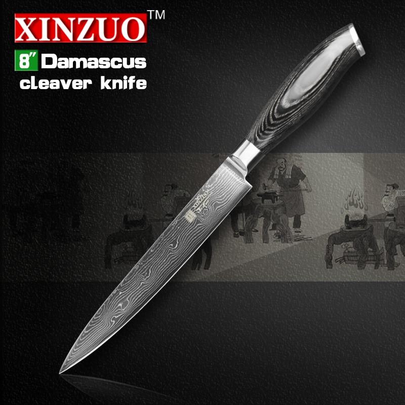 8 inch XINZUO cleaver font b knife b font 73 layers Damascus steel kitchen font b
