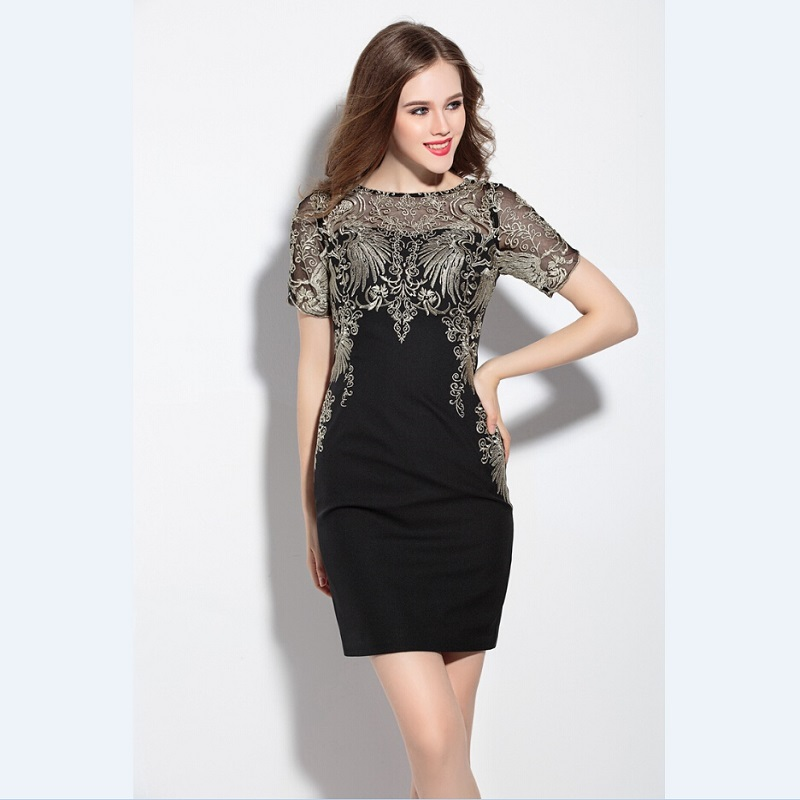 High Quality Big Size Mesh Embroidery Patchwork Summer Lace Women Dress Slim Long Short Sleeve Slim