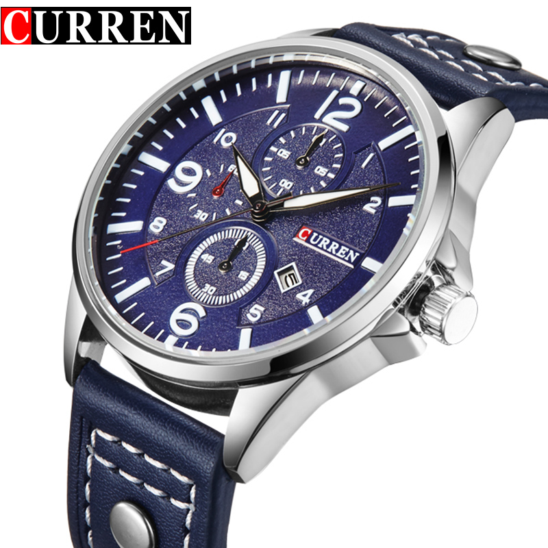 New Luxury Casual Quartz Watch Brand Men Leather Military Wristwatch Sport relogio relojes Hombre CURREN New 2017 Auto Date full stainless steel quartz watch men luxury man wristwatch relojes hombre sports military analog wristwatch gift new curren