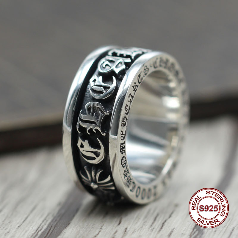 S925 pure silver mens ring personality Do old restoring ancient ways punk style Sanskrit spins classic ring Gift to your loverS925 pure silver mens ring personality Do old restoring ancient ways punk style Sanskrit spins classic ring Gift to your lover