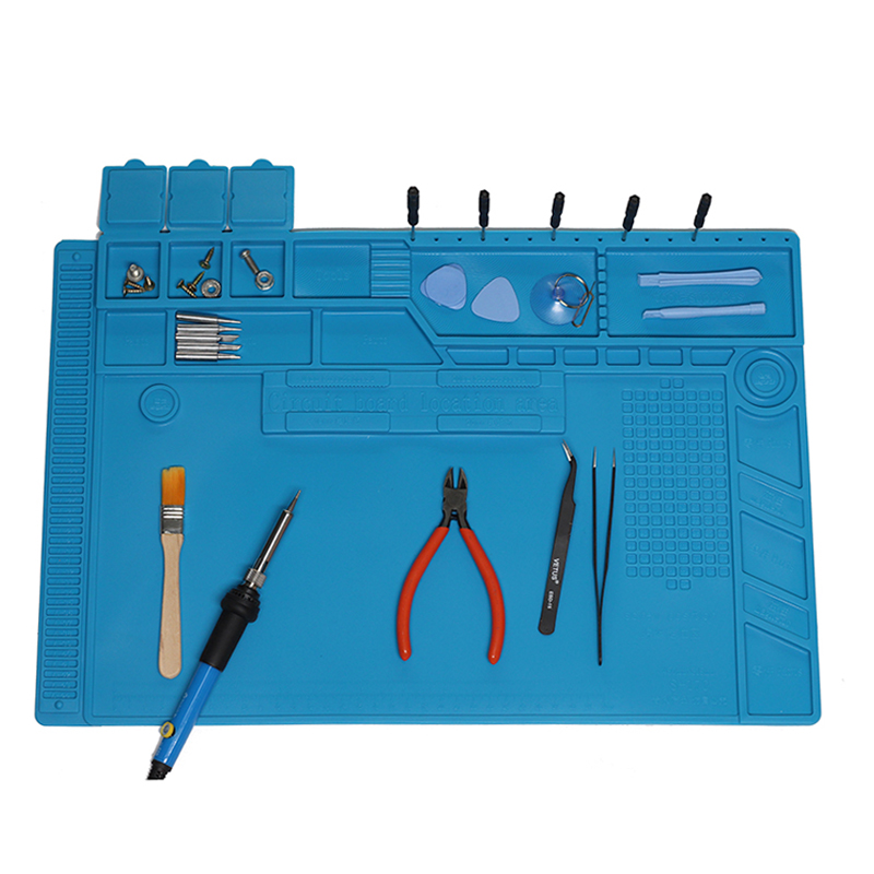 S 170 S 160 S 150 S 140 Heat Insulation Silicone Soldering Pad Mat Desk Maintenance Platform For Repair Station With Magnetic-in Electric Soldering Irons from Tools