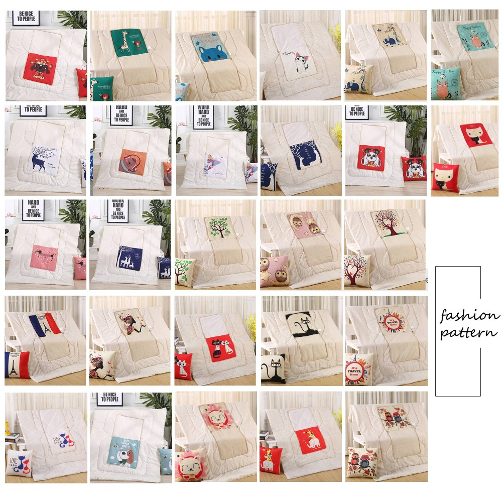 Multifunctional cotton cartoon quilt blanket portable foldable square throw pillow home office car air conditioning quilt 45 45 in Decorative Pillows from Home Garden