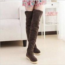 Women Winter boots fashion ladies long shoes Version of the round Toe Women's Flat Boots Cotton  over-the-Knee Boots young shoes moraima snc spring autumn fashion women riding boots over the knee flat with fringe strap buckle decoration round toe long boots