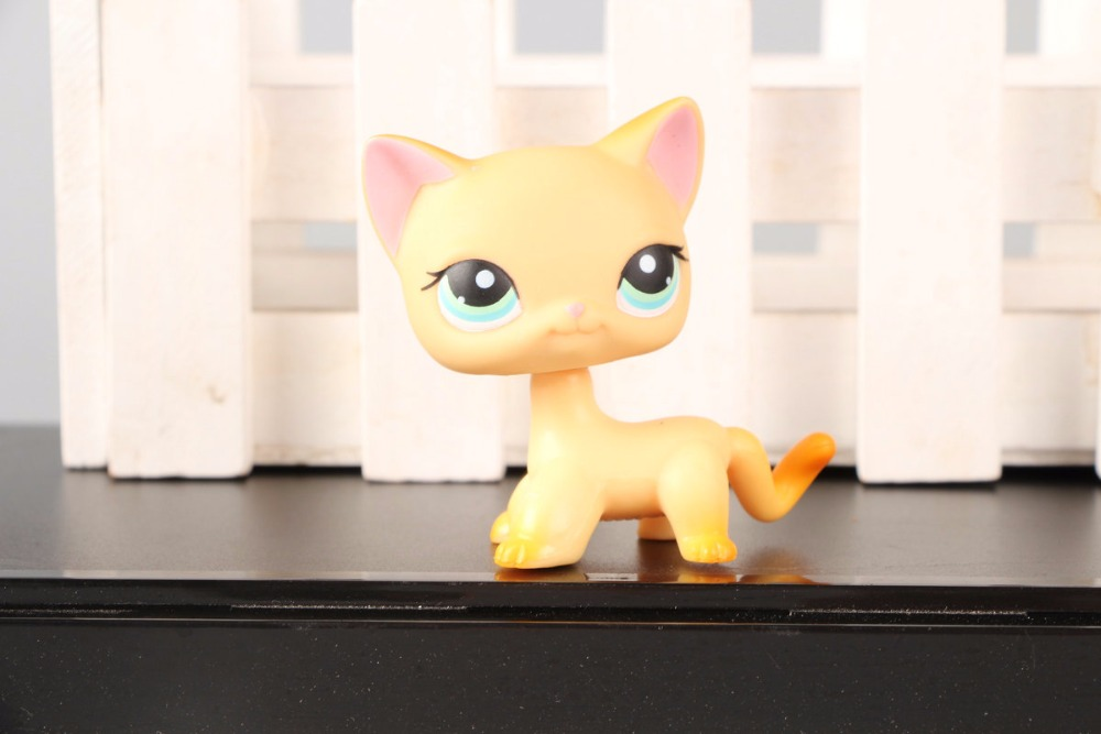 цены New Pet Collection Figure LPS #339 Short Hair Cat Kitty Yellow Kitten Green Eyes Kids Toys