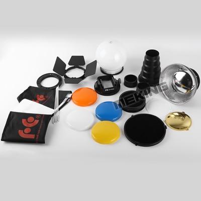 9PCS K9 Flash Speedlite Accessories kit Conical Snoot + Reflector + Diffuser + Honey Comb + Softbox + gels + Barndoor + Mount
