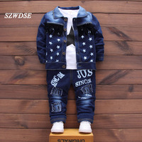 Children S Autumn Sets Boy Girls Denim Five Pointed Star Tassel Tops Coat Letter Full Length