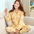 Pijamas Pijamas de las mujeres de manga larga chaqueta de punto de algodón de gran tamaño MM de grasa ropa de hogar de algodón trajes de 2017 Primavera Verano