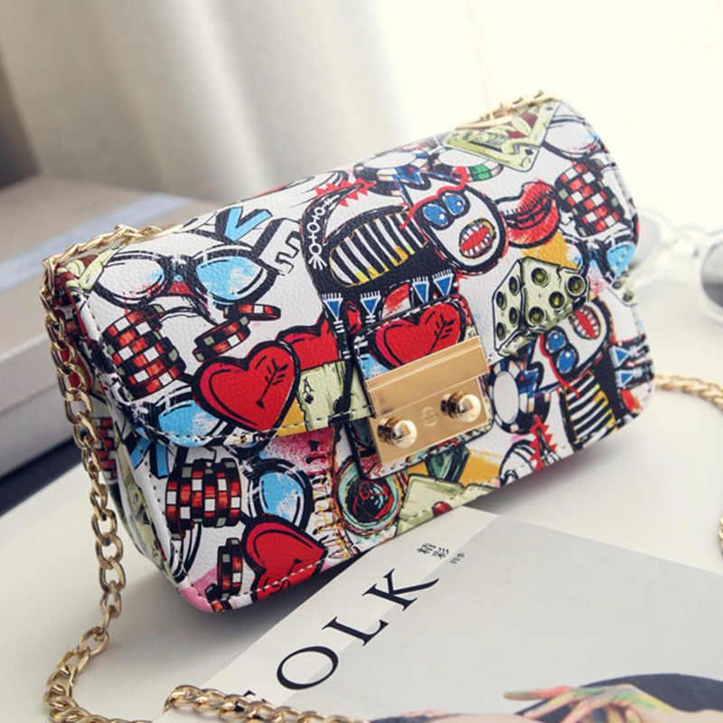 2019 กระเป๋าสตรีใหม่ฤดูร้อน Graffiti designer กระเป๋าถือคุณภาพสูงโซ่มินิกระเป๋าผู้หญิงกระเป๋า Messenger กระเป๋าผู้หญิงคลัทช์