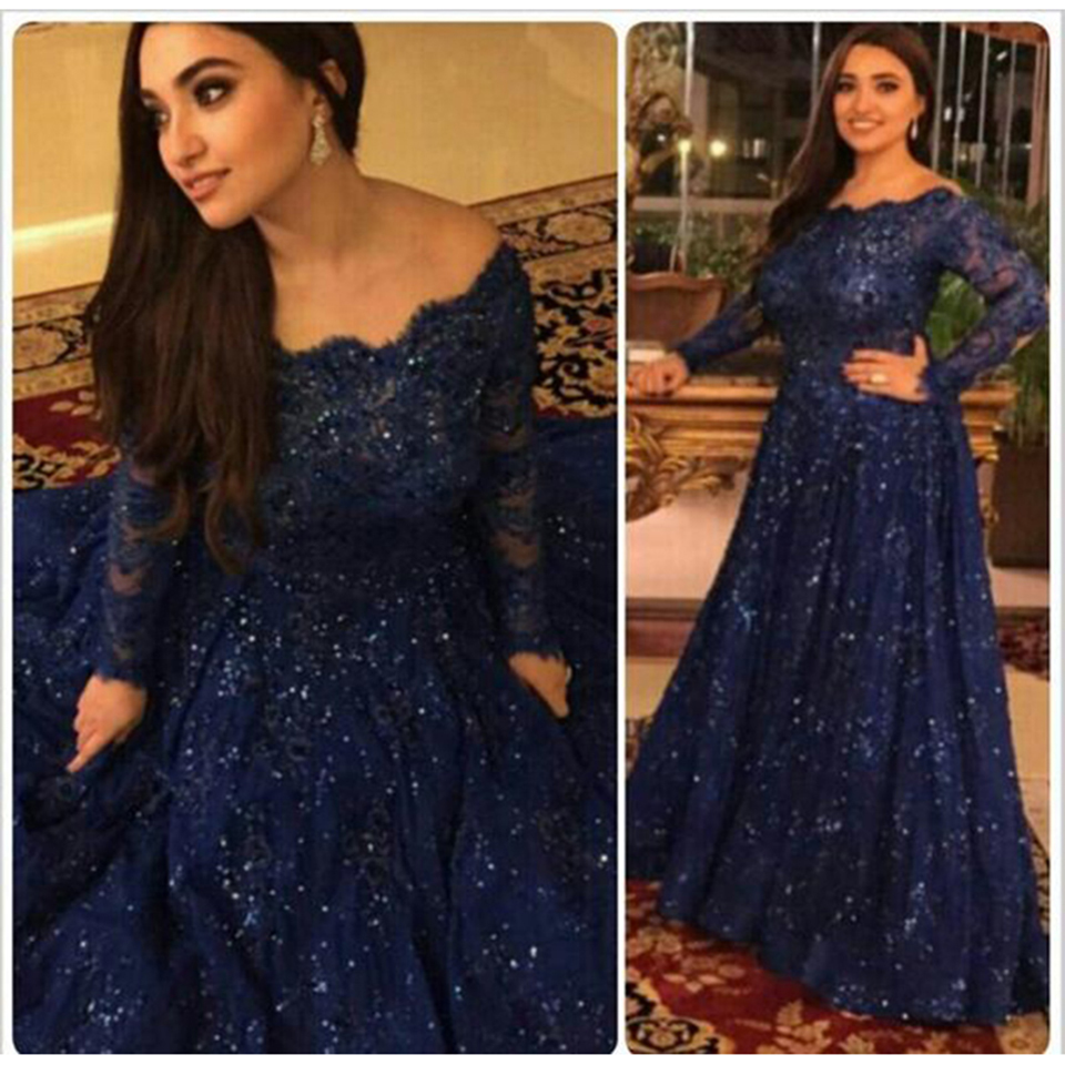 Dark Navy Blue Lace Plus Size Prom Dress 2016 Boat Neck Sequined ...
