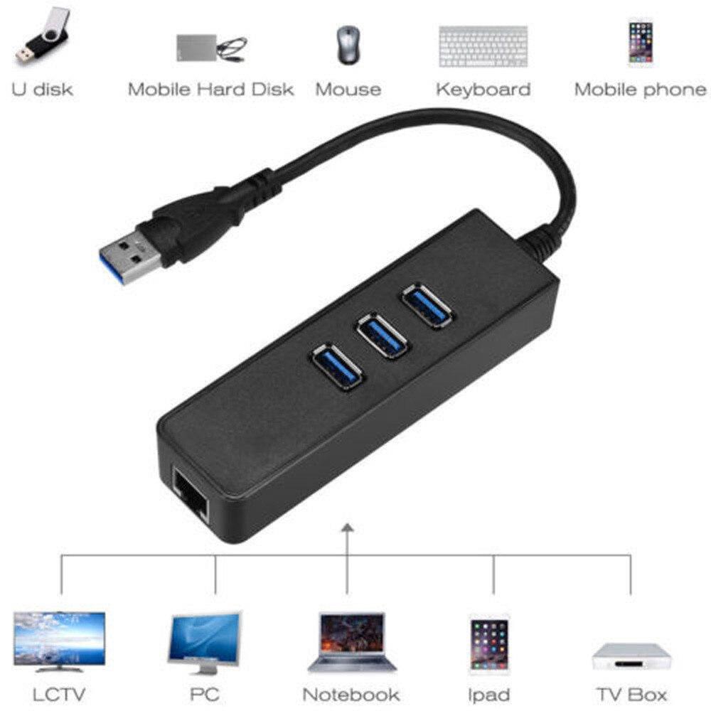 HIPERDEAL USB 3,0 Gigabit Ethernet Lan RJ45 сетевой адаптер 3-Порты и разъёмы концентратора до 1000 Мбит/с для ПК Семья обмен сетевое устройство JANN07