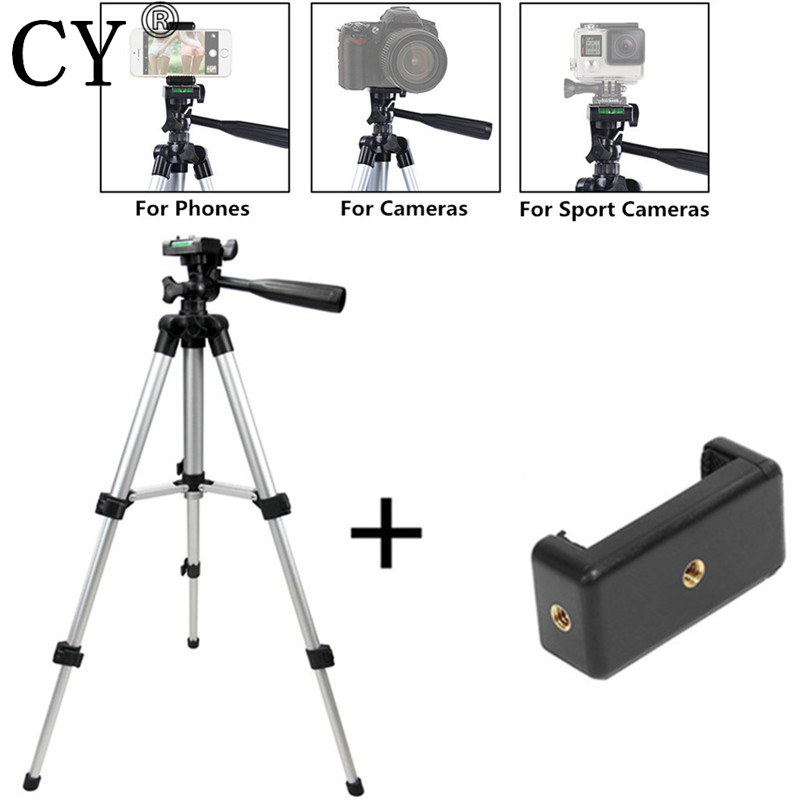 official photos 7f3e1 e338c US $11.16 15% OFF Tripod For Phone Camera Tripod Stand + Holder For IPhone  6s 7Plus For IOS Android Phone Mini Tripod-in Live Tripods from Consumer ...