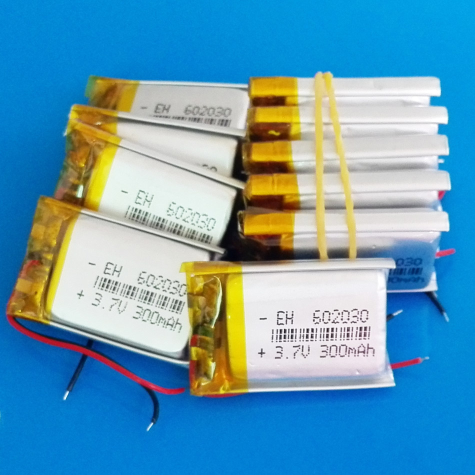 Lot 10 pcs 3.7V 300mAh <font><b>602030</b></font> lithium polymer li ion Lipo rechargeable battery for MP3 MP4 GPS bluetooth headset camera image
