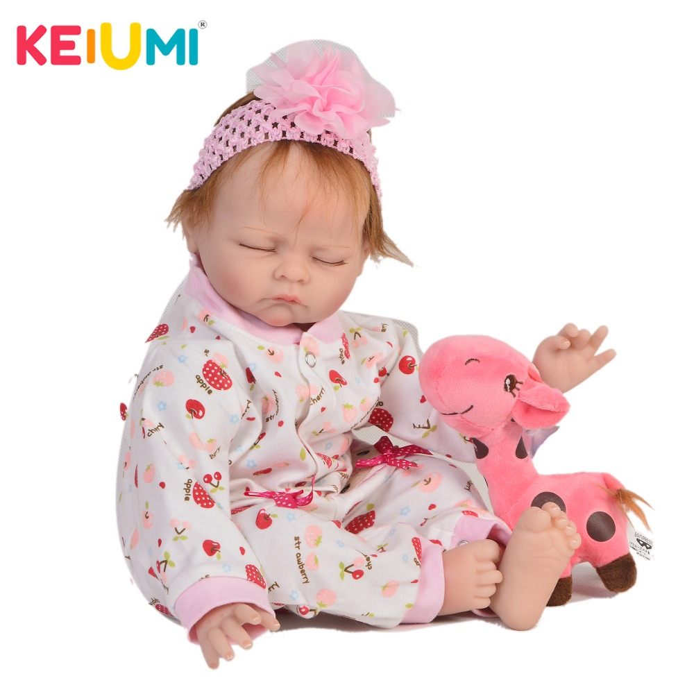 KEIUMI Alive 22 Inch Reborn Baby Doll Cloth Body Realistic Fashion Sleepy Baby Doll Toy For Children's Day Kids Xmas Gifts keiumi cute 22 inch reborn baby doll cloth body realistic fashion princess baby doll toy for children s day kid xmas gifts
