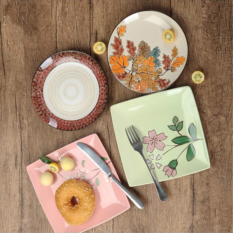 Western Sweet Dishes Recipes: 2PCS 8 Inch Ceramics Western Style Food Plate Beefsteak