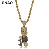 JINAO Hip Hop Simpson With Skateboard Necklace Pendant Men Jewelry AAA Cubic Zircon Necklace Bicolor Jewelry For Gift Party