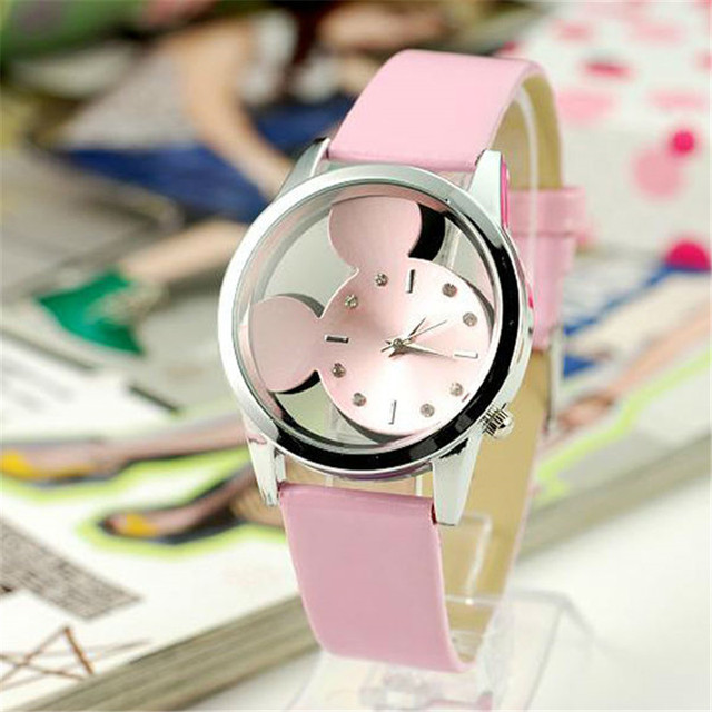 Fashion luxury Brand Quartz Watches Cartoon Watch Women Casual Leather Girls Kid