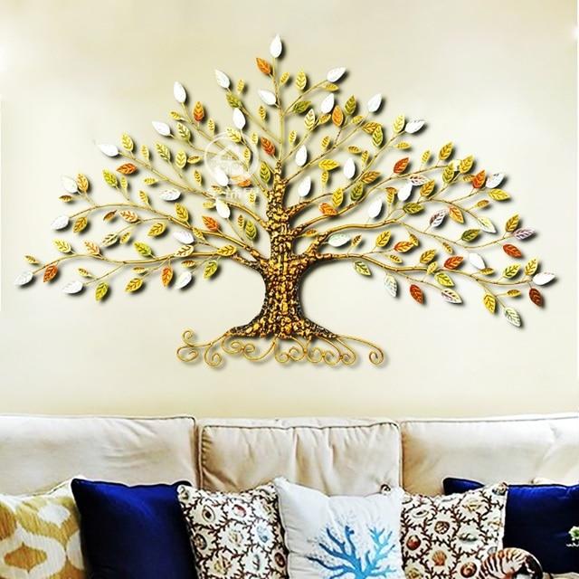 Metal Rich Tree Handpainted Iron Wall Decor Life Tree Wall Art Sculpture Wind Chimes Hanging Decorations Aliexpress
