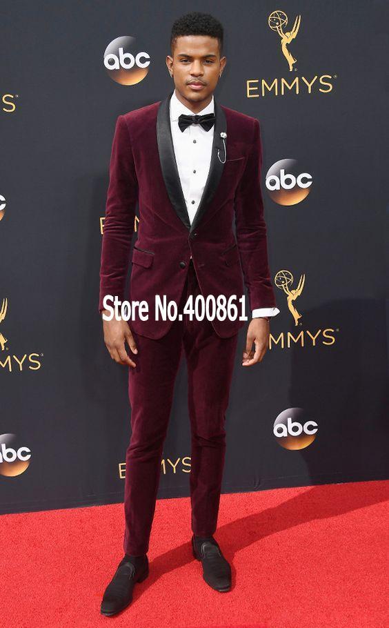 High Quality Dark Red Velvet Mens Suits Groom Tuxedos Groomsmen Wedding Party Dinner Best Man Suits (Jacket+Pants+Tie) K:2368