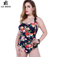 One Piece Swimsuit Floral Printed Swimwear Women Halter Top Flower Monokini Underwire Push Up Bathing Suit