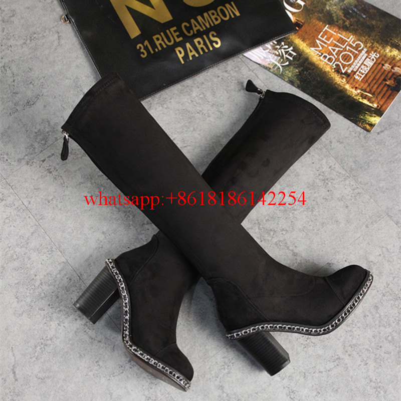 2016 Spring/Winter Women's Fashion Knee High Boots High Heels Martin Leather Short Boots Elastic Suede Chian Shoes Stivali Donna