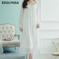 New Autumn Arrivals Sleepwear Solid Ladies Dresses Princess Long Sleeve Nighties Modal Lace Indoor Clothing Sexy