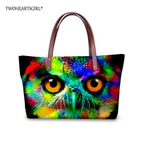 TWOHEARTSGIRL Cool Neon Owl Women Tote Bag Large Capacity Teens Handbag Soft Fashion Femme Shoulder Bags