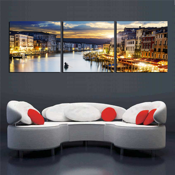Watertown City Landscape Wall Art Pictures Venice Amsterdam Painting ...