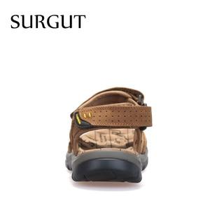 Image 3 - Surgut 2021新しい男性のサンダル夏のレジャー屋外ビーチ男性カジュアルシューズ高品質本革サンダルの男性のサンダル