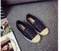2016 Конфеты Цвет Квартир Женщин Сладкий Стиль Платформа Сращивания Дышащий Холст Лицом Круглым Носком Плоским Мелкая Рот Одиночные Рабочая Обувь