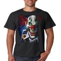High Quality Personality Printing Men Evil Clown T Shirt Smoking Joker Liquid Blue Mens Tee S-3XL O-Neck Short-Sleeve Shirt