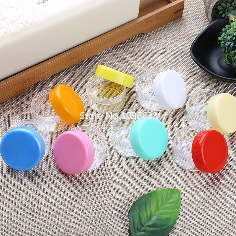 100pcs 20g Clear Cosmetic Container Jar Pot Glitter Nail Box Cream Refillable Plastic Jar Plastic Jewel Case Colorful Round Jar
