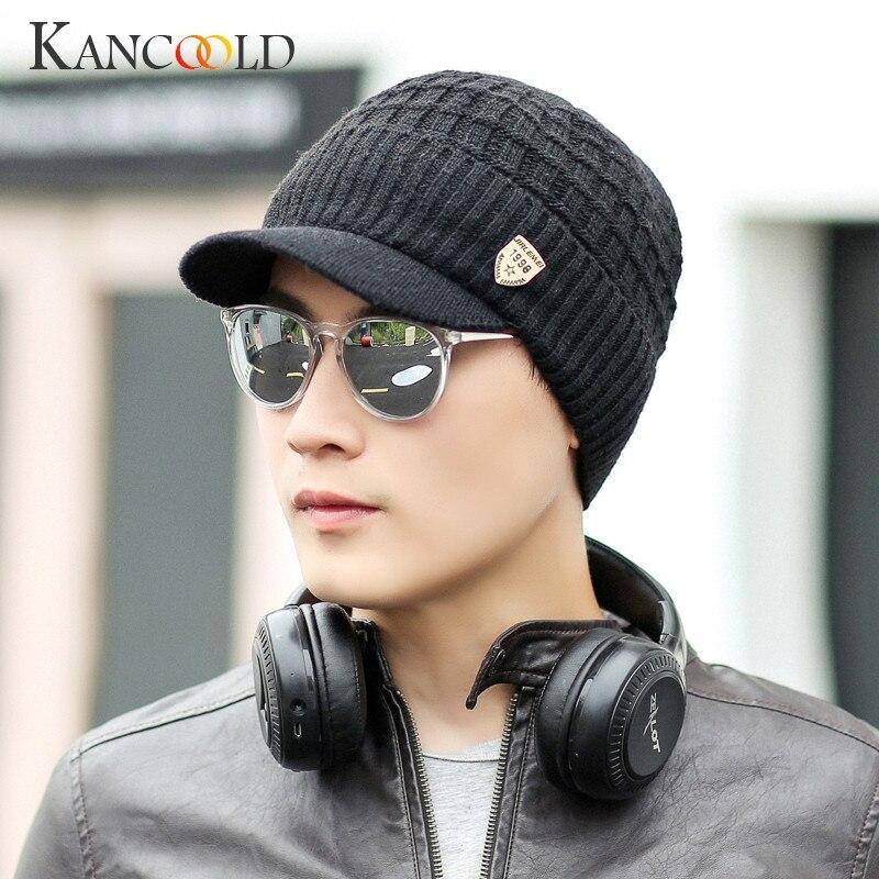 KANCOOLD Hat men fashion Warm Baggy Weave Crochet Winter Hat Wool Knit Ski Beanie Caps high quality Solid hat men 2018NOV13 beanie