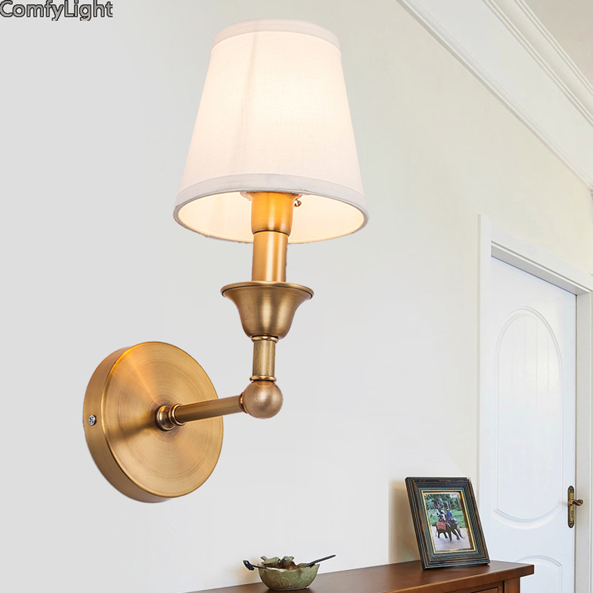 Vintage gold wall lamp reading indoor bedside lamp Hotel/living room/bedroom/restaurant/bar led E27 bulb decoration light sconce bjornled america wall sconce copper wall lamp 2 arm fabric shade light living room restaurant cafe bedroom hotel e14 led lamp