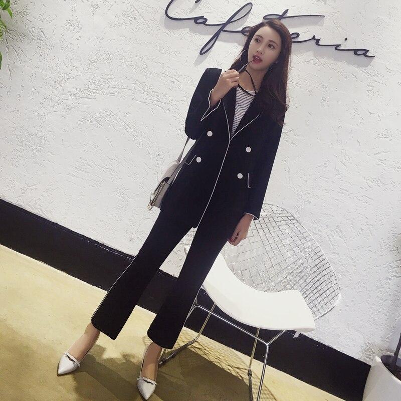 De Costumes Designs Vêtements Bouton Noir Formelle Costume Ensemble Veste Femmes Définit Blazer D'affaires 2 Un Travail Des Bureau Pantalons Pièce Uniforme prwpqB5