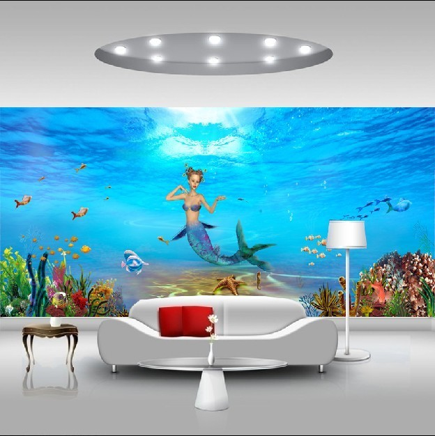 Custom Environmental 3D stereoscopic large mural wallpaper TV background wall paper living room sofa childrens cartoon mermaid