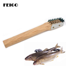FEIGO 1Pcs Fish Skin Brush Wooden Scraping Fish Scale Brush Graters Kitchen Fast Remove Fish Cleaning Peeler Scaler Scraper F454 electric fish scaler fish scales removing and scraping machine