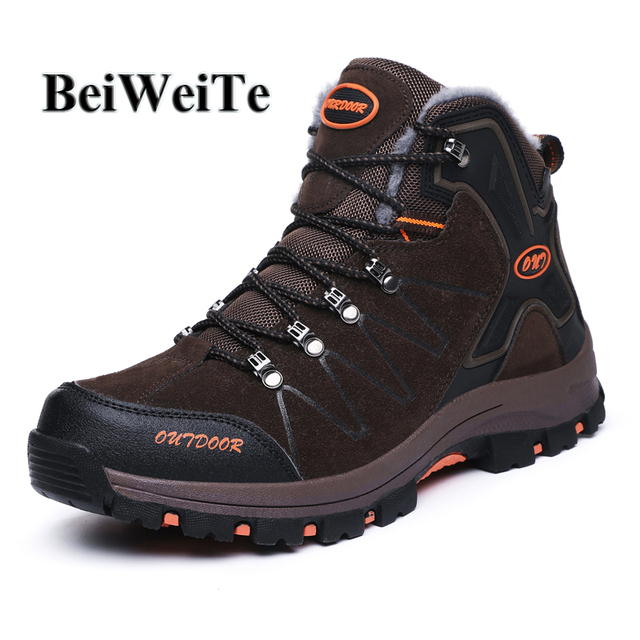Winter Men's Warm Hiking Shoes With Fur Hunting Climbing Mountain Sneakers For Man Trail Anti-skid Safety Outdoor Trekking Boots