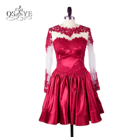 Dark Red Short Prom Dresses 2018 vestidos de formatura Sheer Lace Jewel Neck Long Sleeves Above Satin Party Dress for Graduation