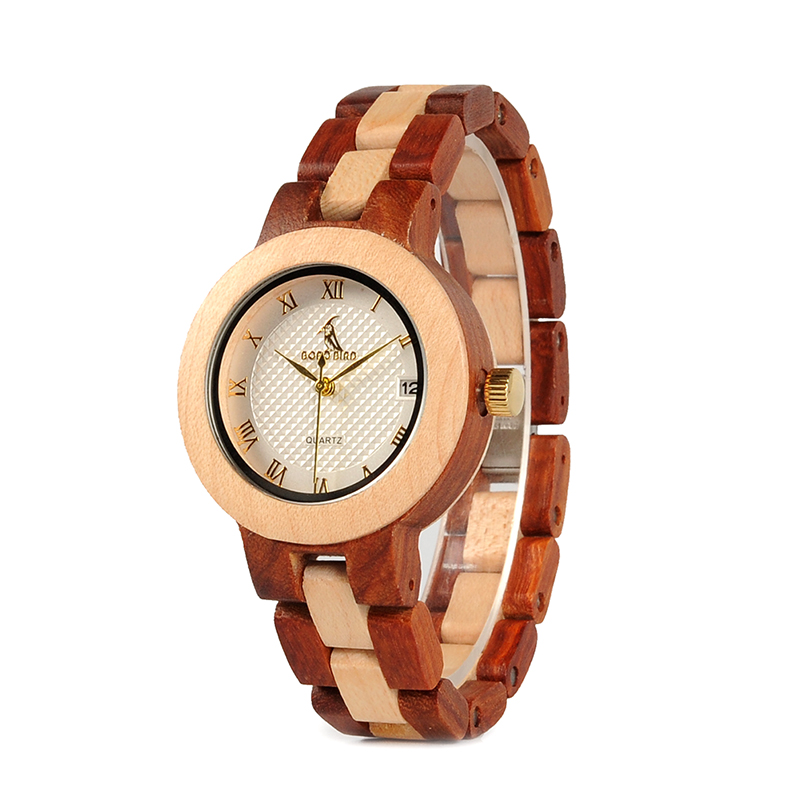 BOBO BIRD Rose SandalWood Elegant Minimal Wooden Watch For Women 16