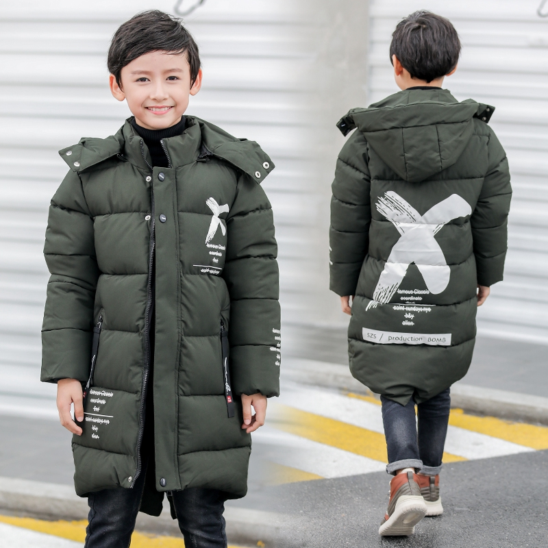 boys winter Coat hooded 6-13 years old kids down jacket children's parkas hot sale thick Windproof and warm cotton long coat winter jacket female parkas hooded fur collar long down cotton jacket thicken warm cotton padded women coat plus size 3xl k450